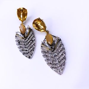 Gold and silver diamond dangle earrings